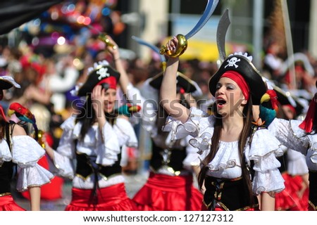 LIMASSOL, CYPRUS - FEBRUARY 26: Unidentified Carnival participants dressed like pirates dance in Cyprus Carnival Parade on February 26, 2012 in Limassol, Cyprus, established in 16th century