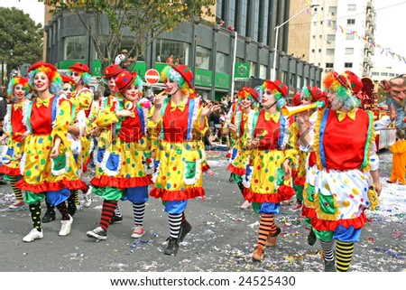 LIMASSOL,CYPRUS-MARCH 9, 2008: Unidentified people in carnival parade.