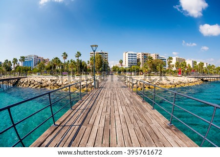 Limassol, Enaerios Seafront, view from old wooden pier. Cyprus. - stock photo