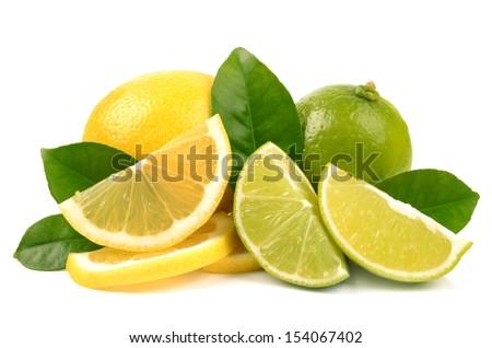 lime and lemon on white background - stock photo