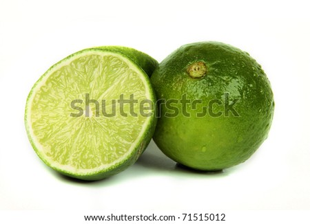 Lime cutted on slices, isolated on white background