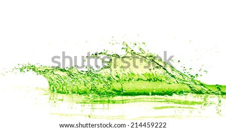 lime drink splash on white background - stock photo