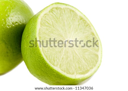 Lime fruits isolated on white background - stock photo