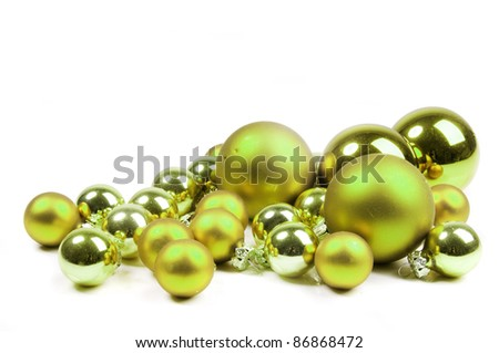 lime green Christmas balls - stock photo