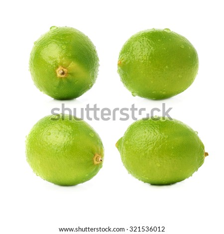 Lime green fruit covered with the multiple water drops, isolated over the white background, set of different foreshortenings - stock photo
