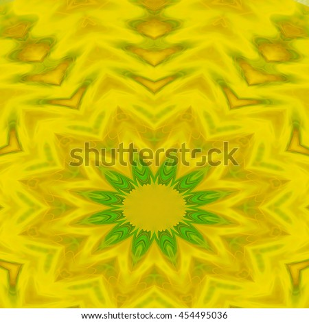 Lime green lemon yellow center flower  hole kaleidoscope twist twirl spin detailed pattern design background backdrop corner design - stock photo