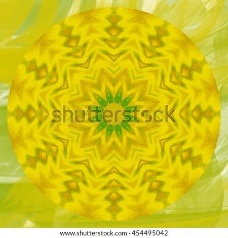 Lime green lemon yellow center flower  hole kaleidoscope twist twirl spin detailed pattern design background backdrop - stock photo