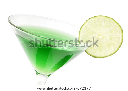 Lime green martini with lime garnish - stock photo