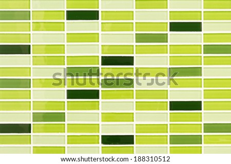 Lime green mosaic tiles background - stock photo