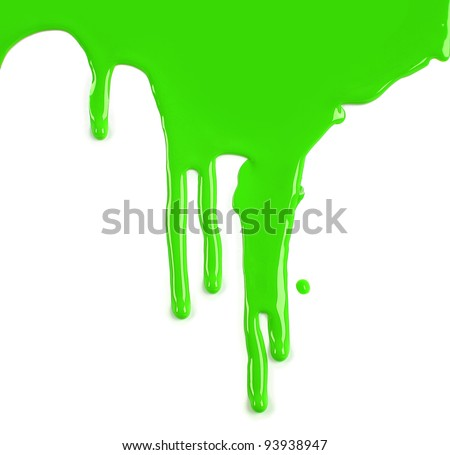 Lime Green Paint Drips on White background - stock photo