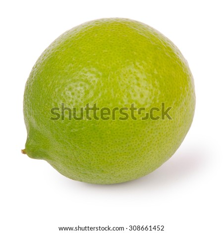 Lime isolated on white. Clipping path inside. - stock photo