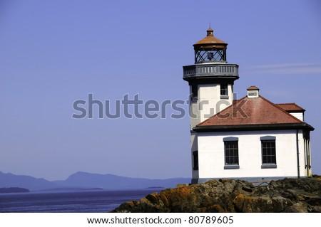Lime Kiln lighthouse on San Juan Island, Washington - stock photo