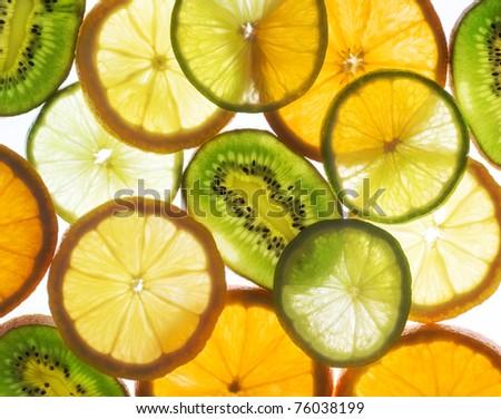 lime, lemon, kiwi and orange slices - stock photo