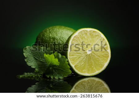 lime  on black - stock photo