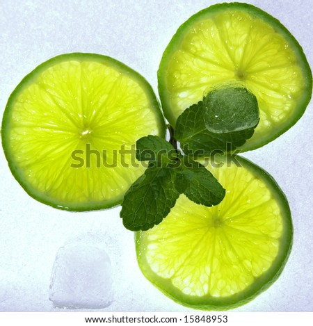 Lime on ice - stock photo