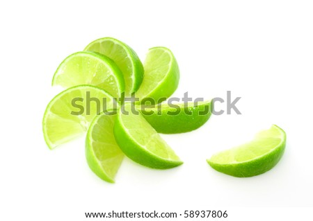 lime segments fanned out - stock photo