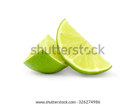 Lime slices isolated on a white cutout