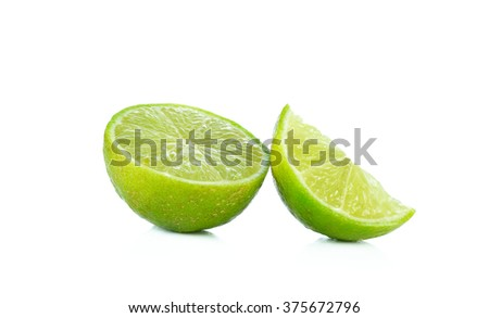 Lime slices isolated on white background.