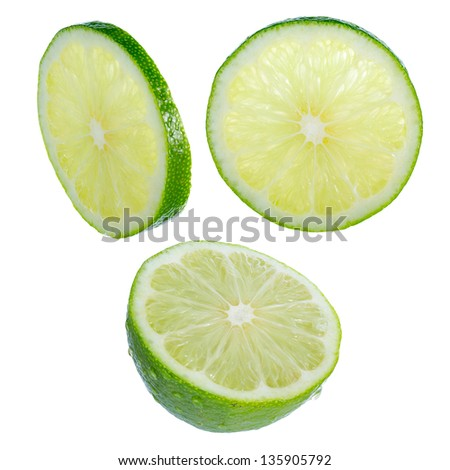 Lime slices isolated on white background. Designer's set. Different angles of view. Large DOF increased by focus stack. Everything in focus. Natural color of pulp preserved. - stock photo