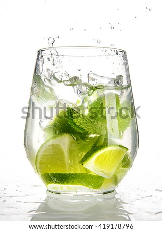 Lime splashing in to water with mint in glass