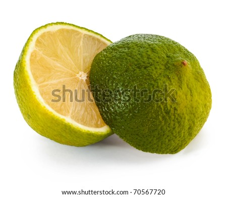 Lime two parts isolated on white background - stock photo