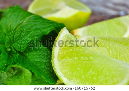 Lime Wedges and Mint Leaves Mojito Ingredients
