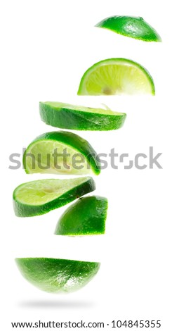 Lime with section isolated on white background (Save Paths For design work)