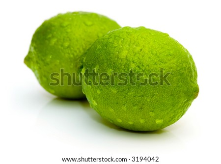Lime with water drops isolated on white background - stock photo