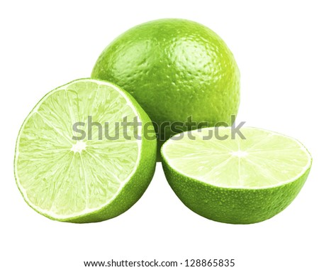 Limes - One lime and two half limes. Isolated on white.
