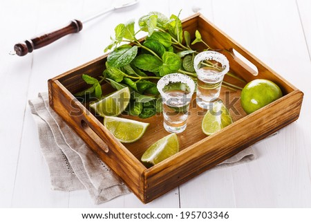 Limes quarters, mint leaves and tequila shots in a wooden tray over white wooden background. Selective focus, shallow DoF - stock photo