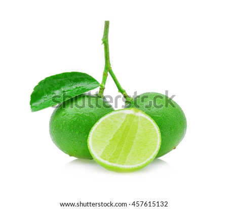 limes with water drops isolated on white. - stock photo
