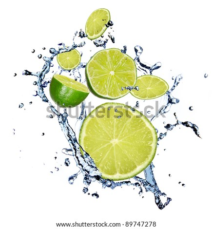 Limes with water splash, isolated on white background