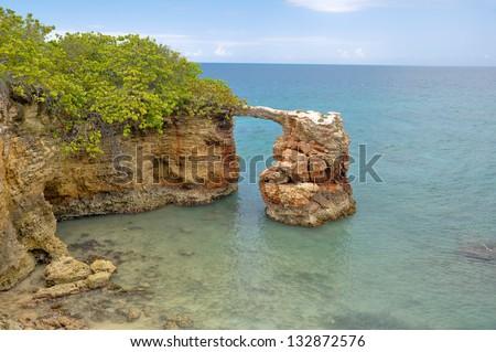 Limestone arch at Cabo Rojo (Puerto Rico) - stock photo