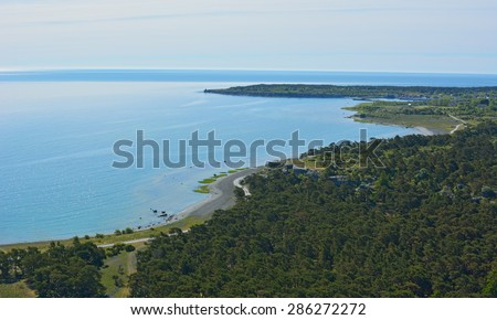 Limestone coastline on eastern part of Gotland island in Sweden - stock photo