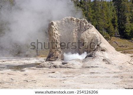 Limestone Cone of Giant Geyser in the Upper Geyser Basin of Yellowstone National park - stock photo