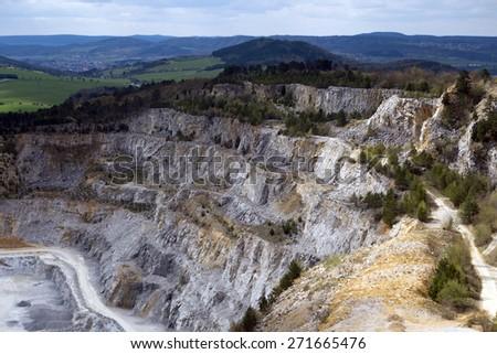 Limestone mine, Koneprusy, Czech republic - stock photo