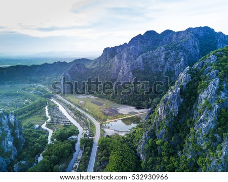 limestone mountains in Sam Roi Yot National Park, Thailand. drone. aerial. above. top view.