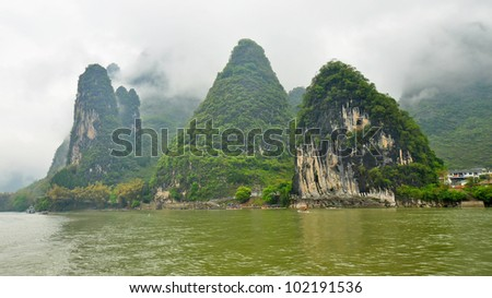 Limestone Outcroppings on a Foggy Day in Guilin, China