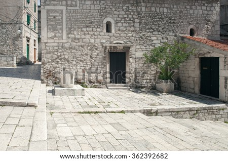limestone paving of old mediterranean city streets - stock photo