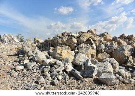 Limestone quarry, Open pit mine in Cambodia. - stock photo
