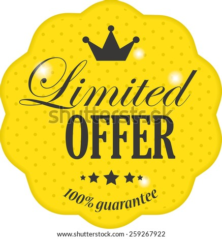 Limited offer on yellow label vintage style with crown, snowflake and star - stock photo