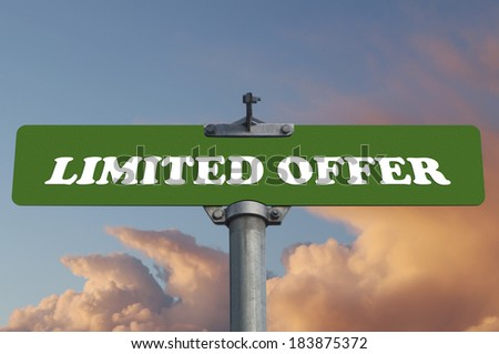 Limited offer road sign - stock photo