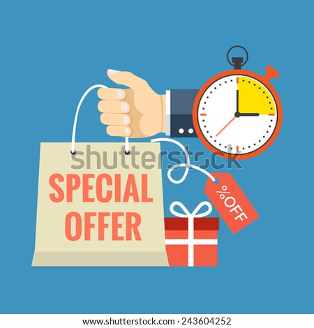 Limited time special offer concept. Flat design stylish. Isolated on color background - stock photo