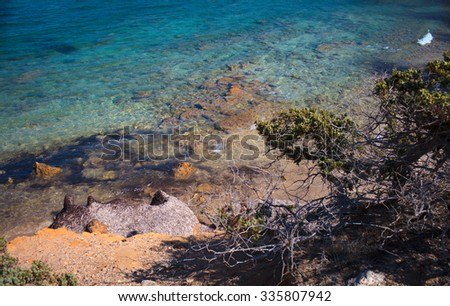 Limnionas beach on the north coast of Kos,Greece,focus on the water's surface - stock photo