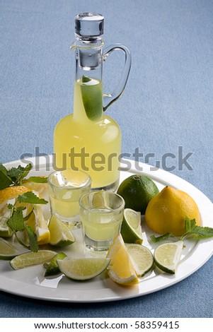 limoncello - stock photo