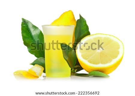Limoncello, Italian liqueur lemon on white background. - stock photo