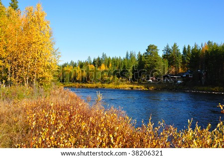 Linariver in northern sweden. - stock photo