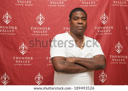 LINCOLN, CA - April 26: Comedian Tracy Morgan performs at  Thunder Valley Casino Resort in Lincoln, California on April 26, 2014 - stock photo