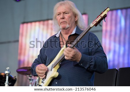 LINCOLN, CA - August 23: Chris Squire of the band Yes performs at Thunder Valley Casino Resort in Lincoln, California on August 23, 2014 - stock photo