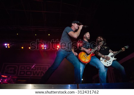 LINCOLN, CA - August 29: 3 Doors Down performs at Thunder Valley Casino Resort in in Lincoln, California on August 29, 2015 - stock photo